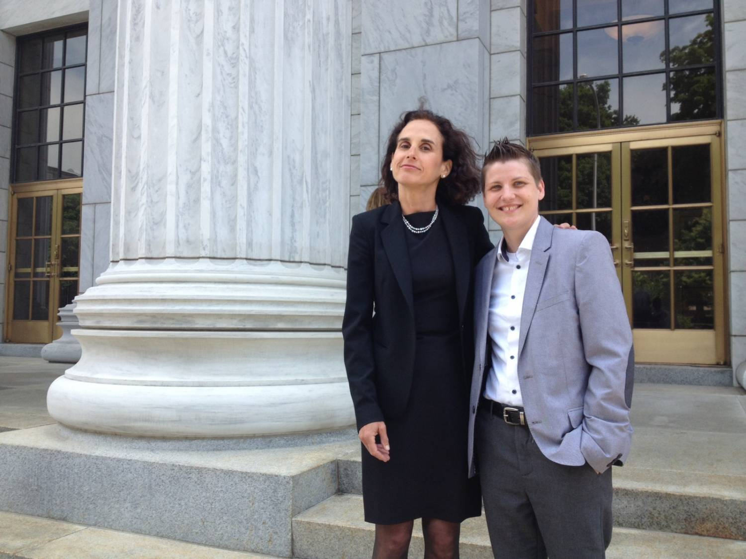 Susan Sommer, National Director of Constitutional Litigation at Lambda Legal (L), with Lambda Legal client Brooke B. (R).