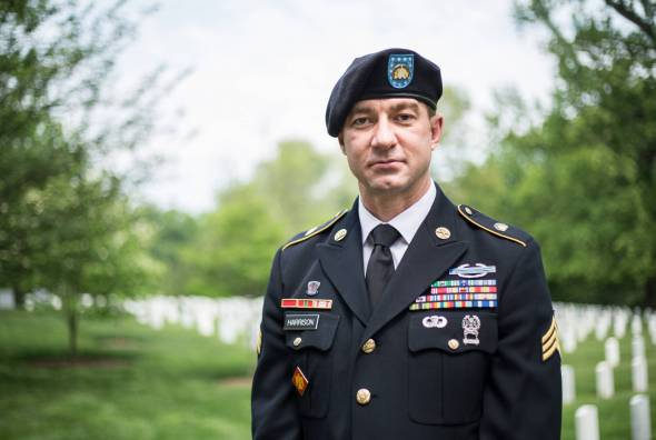 Image of Lambda Legal and Outserve-SLDN client Sgt. Nick Harrison in uniform.