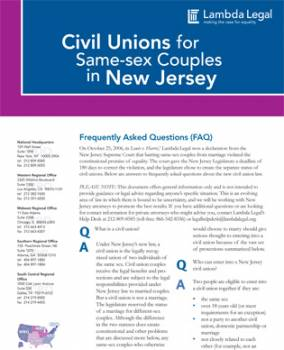 Civil Unions For Same Sex Couples In The State Of New Jersey